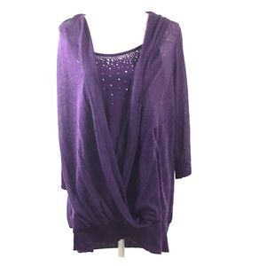 Fashion Bug Purple Top With Silver Accent Beads 1X
